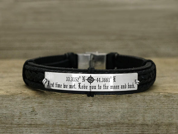 Latitude Longitude Coordinates Bracelet, Love You to the Moon and Back