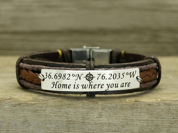 Custom Mens Leather Bracelet, Coordinate Bracelet, Love Bracelet, Compass Bracelet,Memorial Keepsake