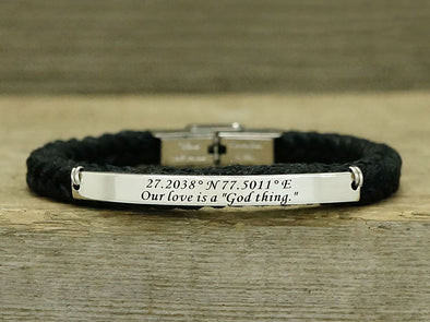 thin coordinate latitude longitude bracelet for women