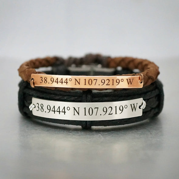Coordinate Bracelets for Him and Her, Longitude and Latitude Bracelets for Couples, Custom Matching Leather Cuffs