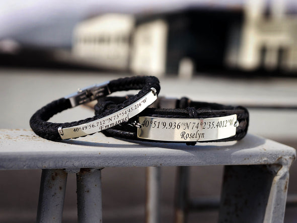 Custom Coordinates Bracelet for Couples, His and Her Bracelets