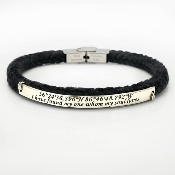 Custom Coordinate Bracelet Women, Black Latitude Longitude Cuff