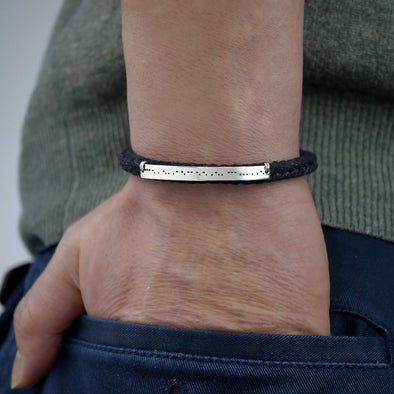Personalized Morse Code Bracelet Silver