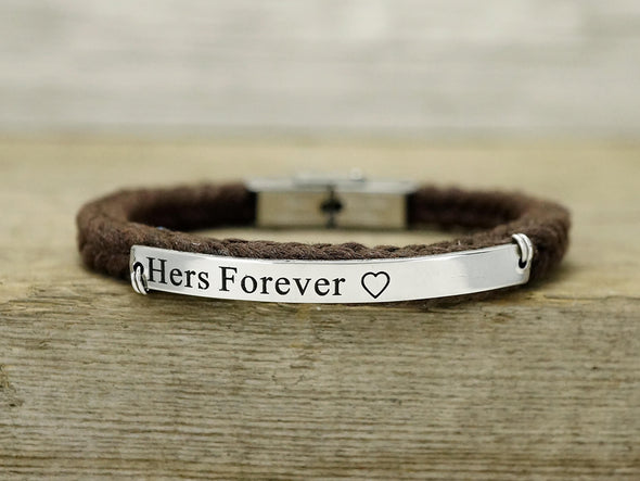 His and Her Forever Always Bracelets, Anniversary Couple Bracelets, Cord Braided Bracelet