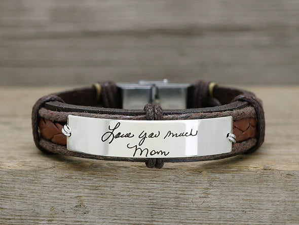 Mom Daughter Bracelet, Actual Handwriting Bracelet, Custom Signature Bracelet, Leather Engraved Cuff