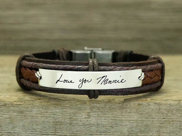 Memorial Signature Bracelet, Actual Handwriting Bracelet, Personalized Leather Engraved Bracelet