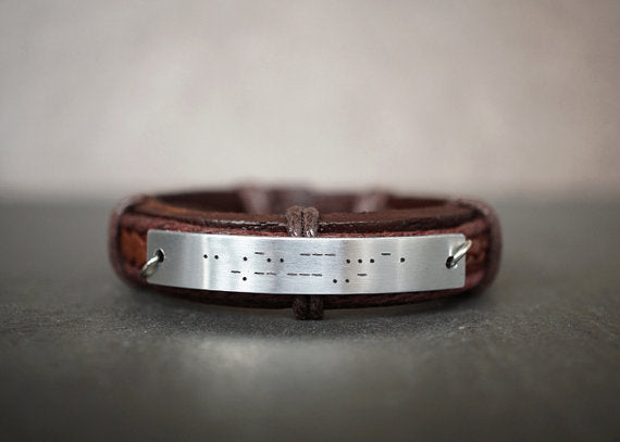 I Love You Bracelet in Morse Code, Hidden Message Bracelet, Mens Leather Bracelet