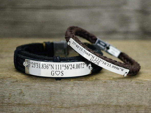 Matching Couple Bracelets, Custom Coordinates Bracelet, Anniversary Gift for Him and Her