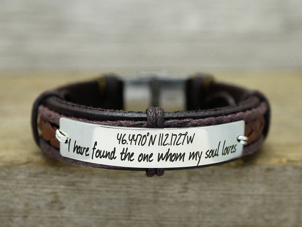 Latitude Longitude Bracelet, Coordinates Bracelet, Custom Engraved Leather Bracelet, Gift for Mom