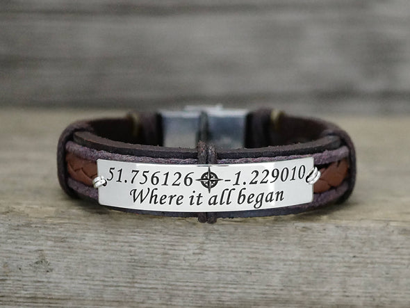 Longitude Latitude Bracelet for Men, Custom Coordinates Leather Bracelet Engraved with Your Own Quote