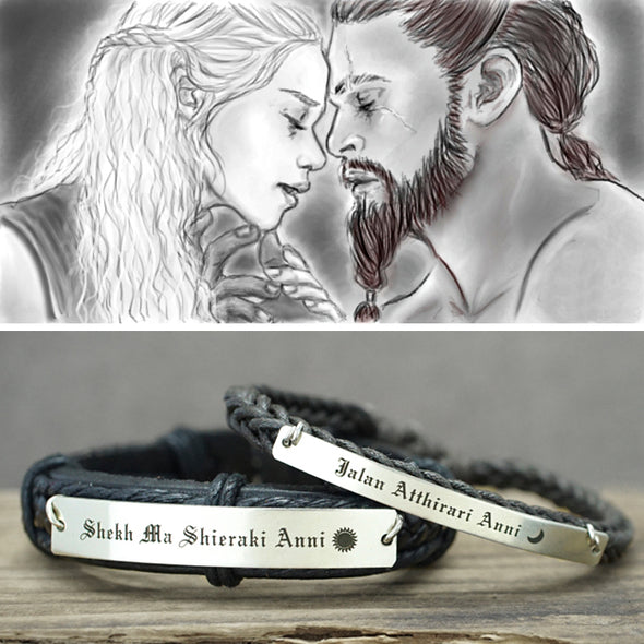 Game of Thrones Bracelets- Dothraki, Moon of My Life- My Sun and Stars, Matching Couple Leather Cuff