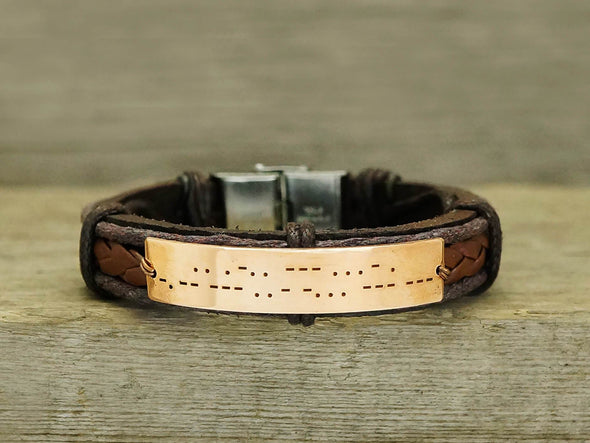 I Love You Morse Code Bracelet Leather, Secret Message Gifts for Him, Custom Engraved Bracelet