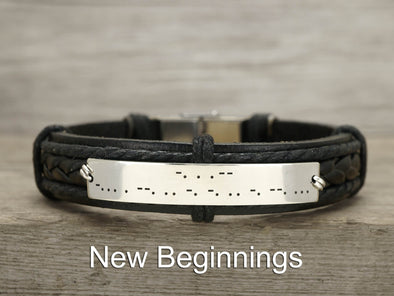 Mens Morse Code Leather Bracelet, Hidden Message New Beginning, Engraved Armband
