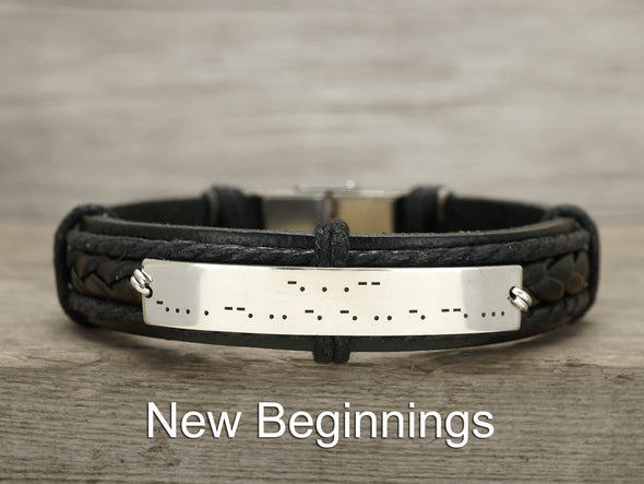 Mens Morse Code Bracelet Leather, Hidden Message Engraved, Soulmate Jewelry for Him