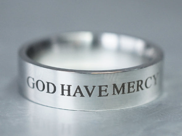 Silver Custom Quote Engraved Ring- God Have Mercy, Stamped Ring, God Ring