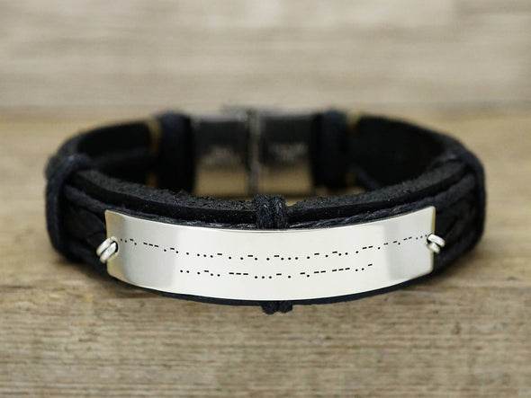 Hidden Message Bracelet, Morse Code Bracelet, Butterfly Bracelet, Secret Code Engraved Leather Cuff