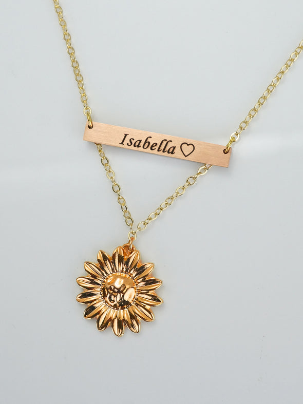 Name Engraved Necklace Rose Gold Sunflower Charm