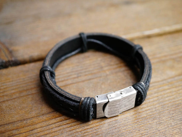 Personalized Mens Leather Bracelet, Custom Coordinate Bracelet, Leather Date Engraved Bracelet