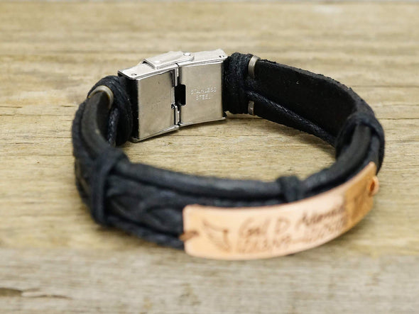 Mens Morse Code Bracelet, Coordinates Bracelet for Him, Leather Jewelry with Secret Meanings