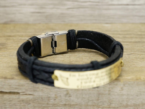 Mens Leather Engraved Bracelet Gold, Father's Day Gift for Step Dad