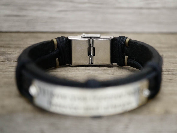 Mens Inspirational Jewelry, Custom Leather Bracelet, Engraved Bracelet, Inspirational Quote Jewelry