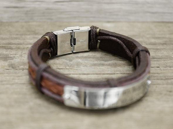 Latitude Longitude Bracelet for Him, Mens Coordinates Bracelets Leather and Steel Engravable