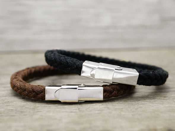 Matching Couple Bracelets, His and Her Bracelet, Personalized Quote Bracelet, Leather& Cord Bracelet