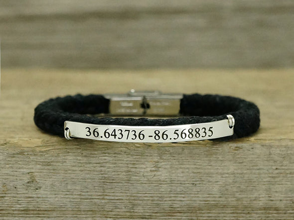 Custom Coordinate Bracelet for Women, GPS Engraved Bracelet, Latitude Longitude Cord Bracelet