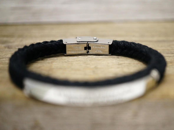 Personalized Initial Bracelet, Skinny Name Bar Bracelet, Dark Brown Cord Braided Engraved Bracelet