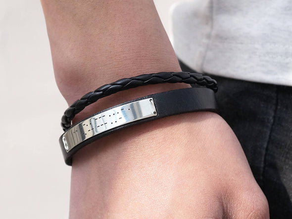 Mens Morse Code Bracelet Black Leather Braided, I Love You Hidden Message Engraved Cuff
