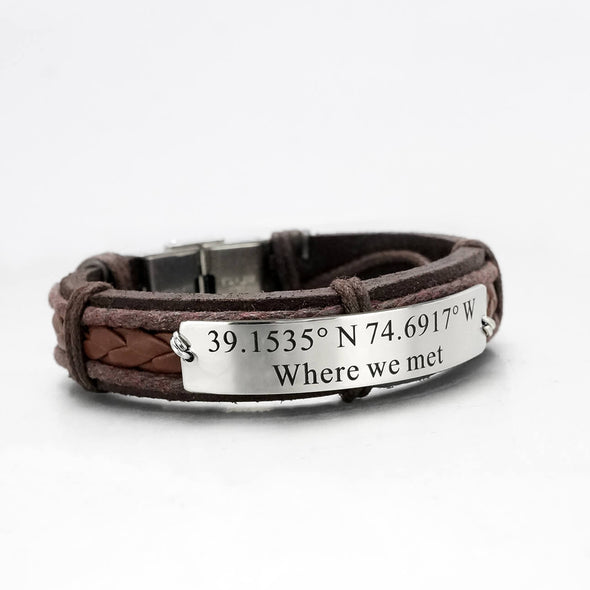 Coordinate Bracelets for Him and Her, Longitude and Latitude Bracelets for Couples Leather Cuffs