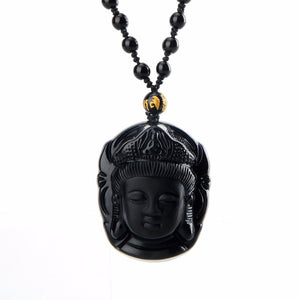 Black Obsidian Necklace Hand Carved Guanyin Head