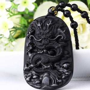 Black Obsidian Necklace Hand Carved Dragon