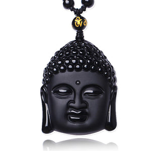 Black Obsidian Necklace Buddha Head
