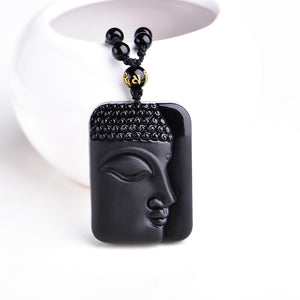 Black Obsidian Necklace Hand Carved Buddha