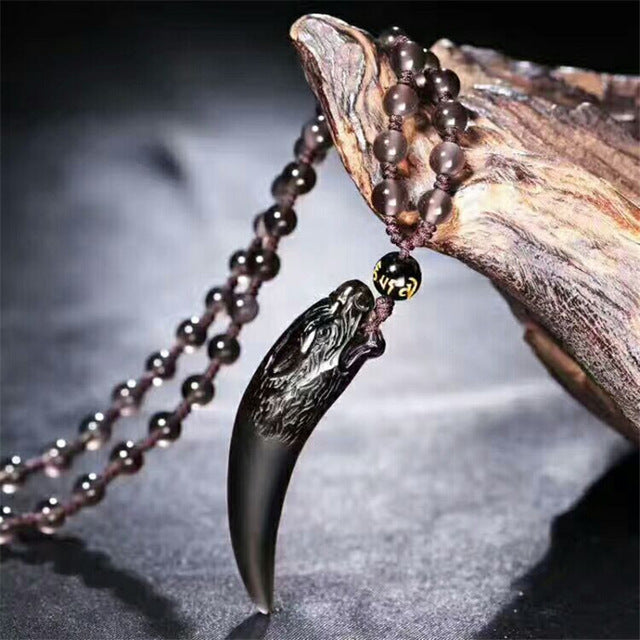Black Obsidian Necklace Wolf's Fang Women Men's (2 types)