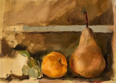 Peach And Pear, 2014 - Still Life by David McSween - Oil Painting