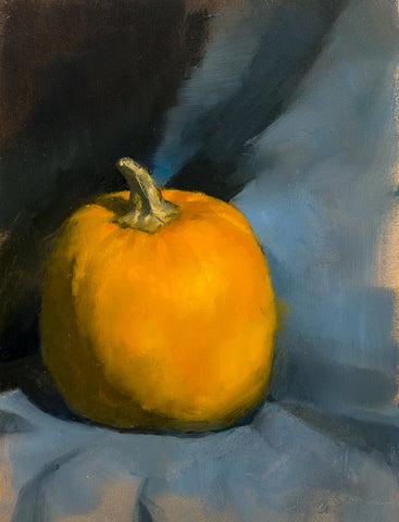 Pumkin With Blue, 2015 - Still Life by David McSween - Oil Painting