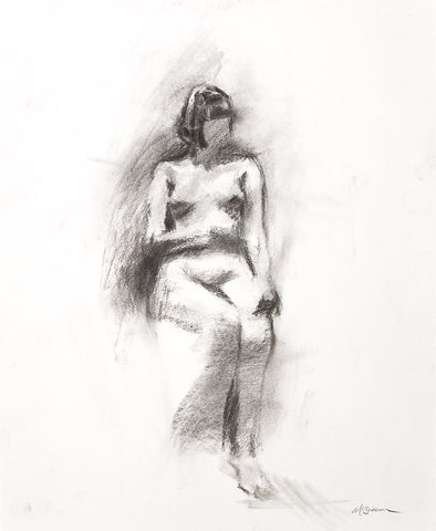 Figura n.1911 - Figure Drawing by David McSween - Charcoal on paper