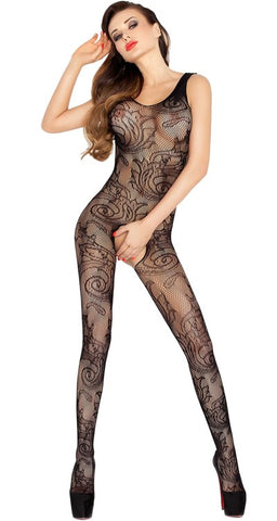Passion Lingerie 020 Swirl Lace Crotchless Bodystocking