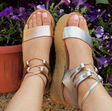 Nefeli Hercules Flatforms in Silver Gridded leather