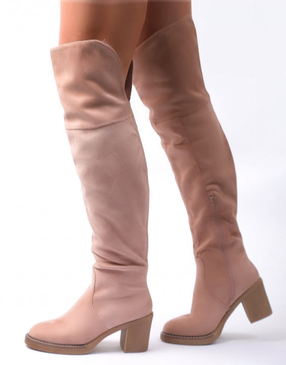 Nefeli Dionisy Boots In Pale Pink