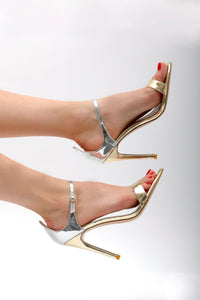BDC Inspired Zia Stiletto Sandals in Silver & Gold Mix