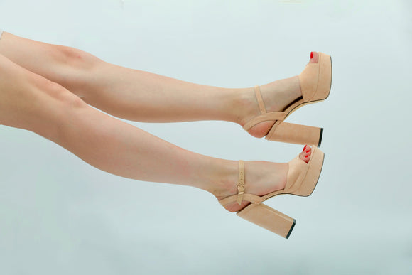 BDC inspired Catrina Platforms in Peach Nude