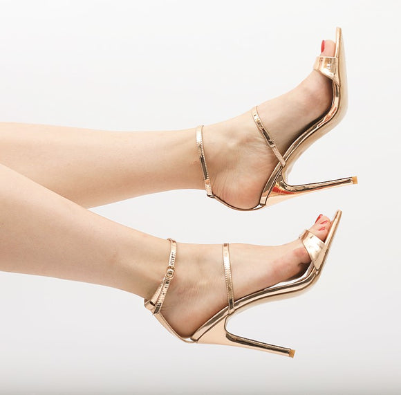 BDC Inspired Diva Stiletto Sandals in Rose Gold