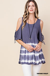 Tunic Cold Shoulder (Vintage Violet Tye dye)
