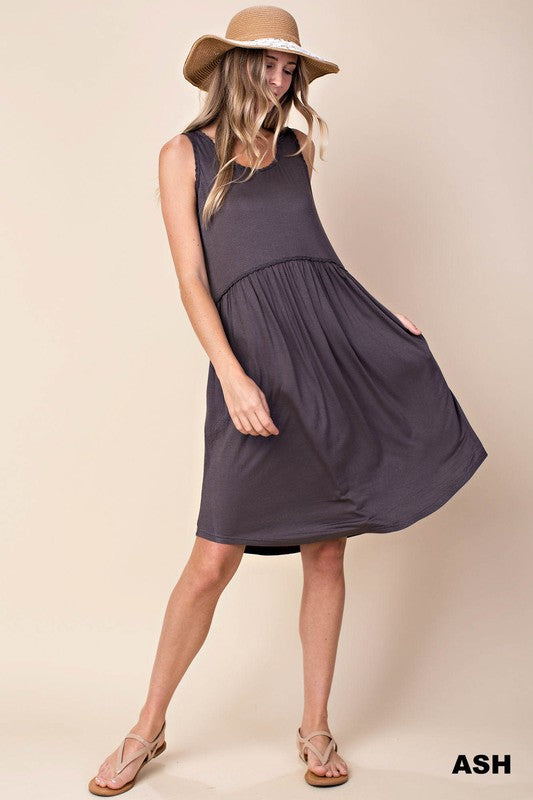 Tank dress with pockets (Ash purple)