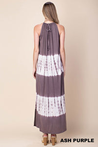 Maxi Dress (Ash Purple Tyedye Halter)