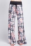 Comfy Pants (Grey/pink plaid)