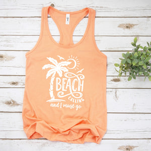 Graphic Tank, Racerback (Beach is calling)